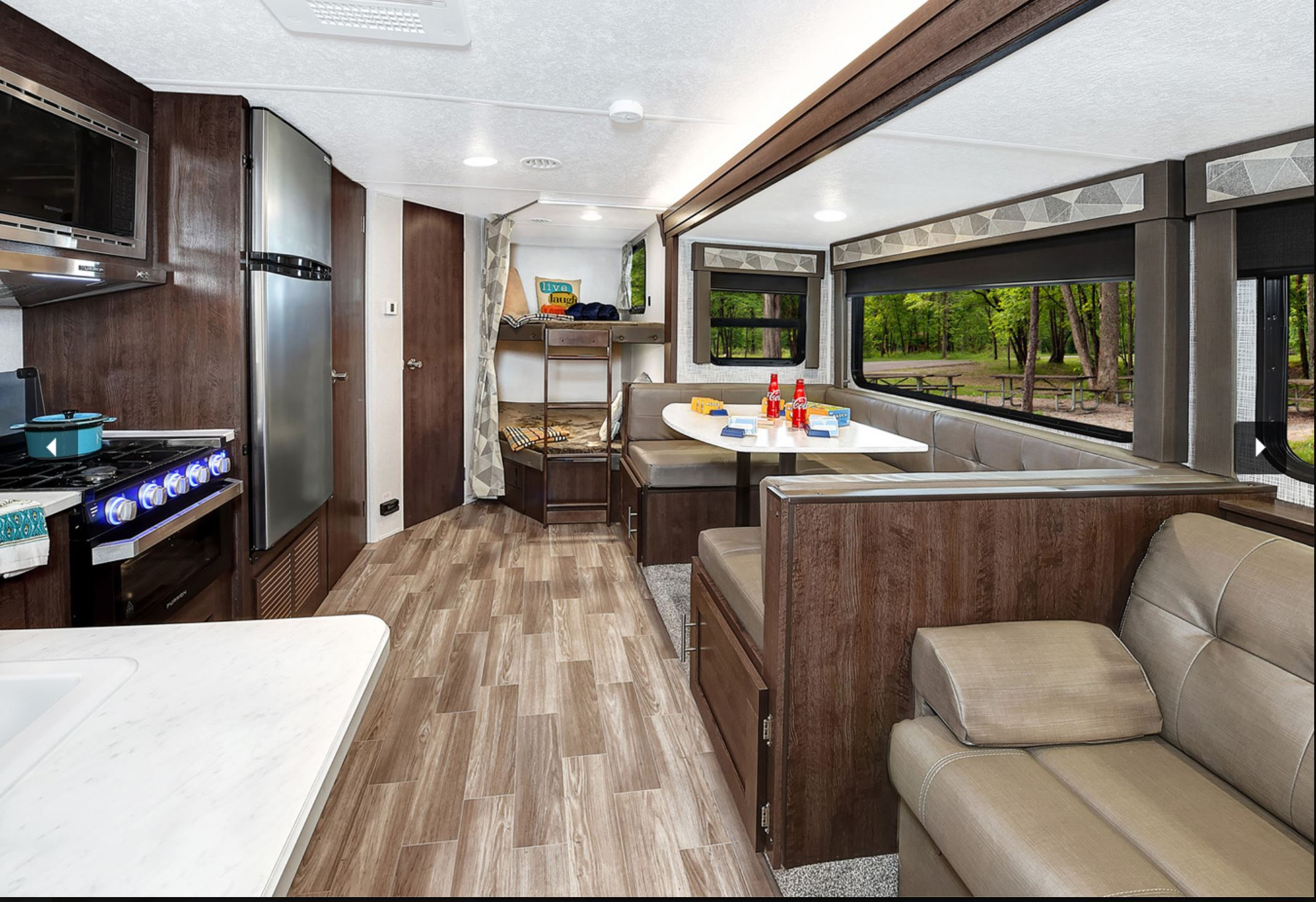 29' Salem Trailer with Slide-out Dinette & Queen bed interior view