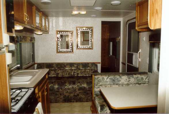 27' Gulfstream Trailer Interior View with couch