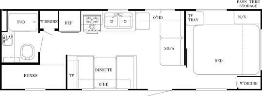 27' Gulfstream Trailer Floorplan