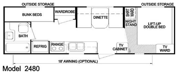 25' Nomad Trailer Floorplan