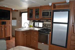 27' Salem Trailer with Slide-out Kitchen interior view
