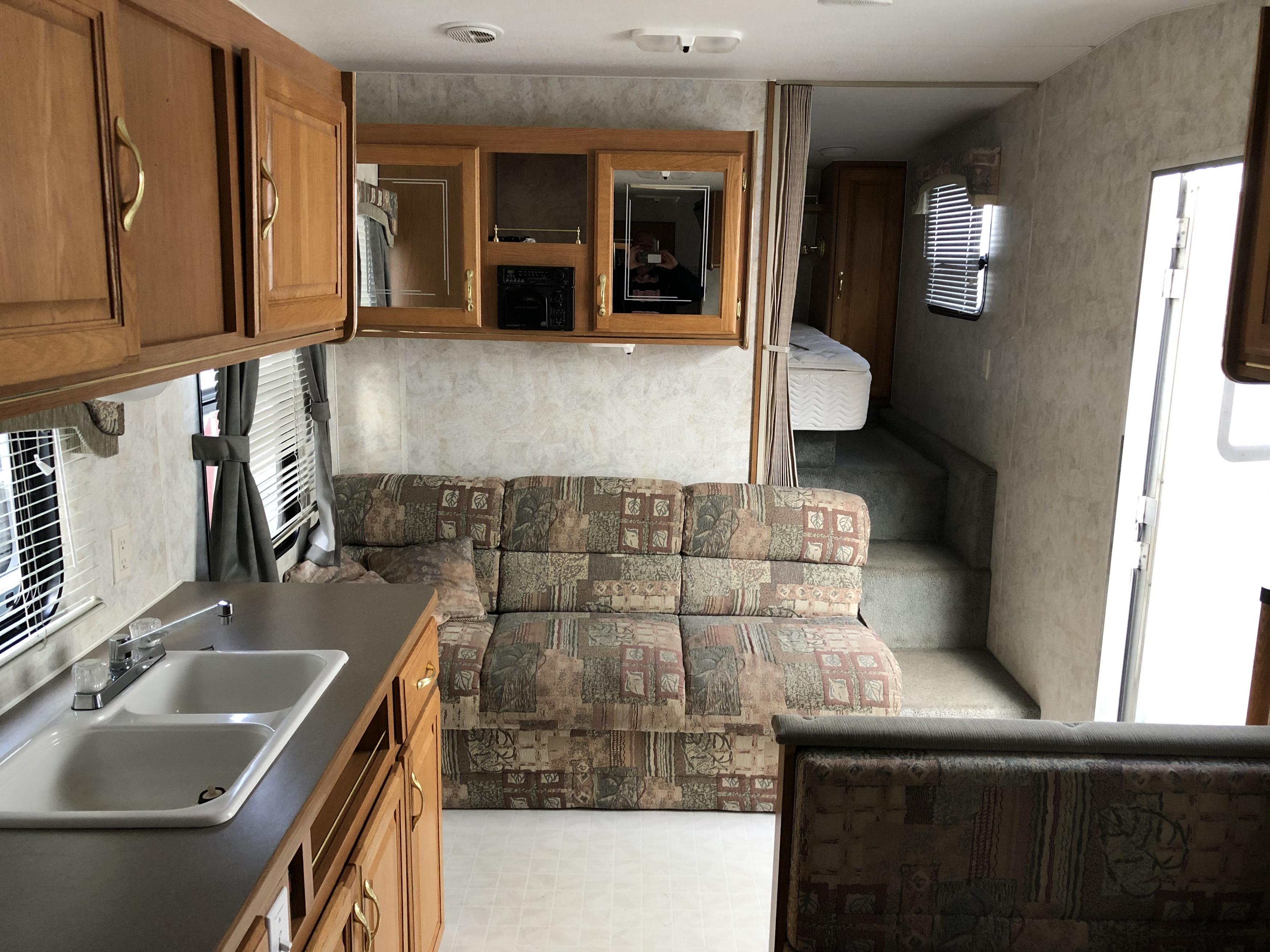 26' Topaz No-slide Trailer Kitchen View interior view