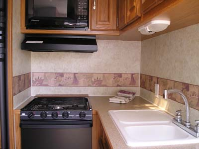 27' Topaz Trailer Kitchen View